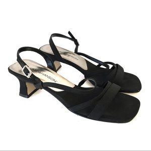 Vintage Y2K Black Square Toe Heeled Sandals